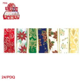 144 Units of x'mas gift ribbon 6.3mm x 3yd - Christmas Gift Bags and Boxes