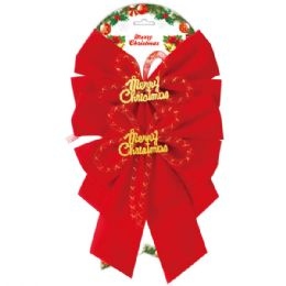 144 Units of 2 Piece Xmas Bow - Christmas Decorations