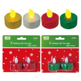 144 Units of 2pk LED tea light w/glitter - Candles & Accessories