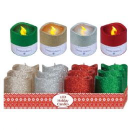 "96 Units of 3""LED candle w/glitter - Candles & Accessories"