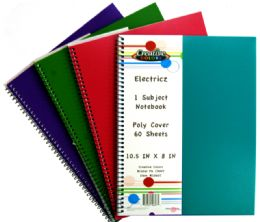 48 Units of 1 Subject Notebook 60 Sheet Electricz Poly Cover Assorted Colors - Notebooks