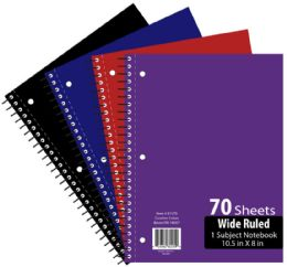 48 Units of 1 Subject 70 Sheet Notebook Wide Ruled - Notebooks