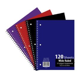 36 Units of 3 Subject 120 Sheet Notebook Wide Ruled - Notebooks