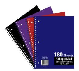 24 Units of 5 Subject 180 Sheet Notebook Wide Ruled - Notebooks