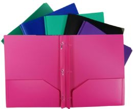 48 Units of 2 Pocket Poly Portfolio With Prongs Colors - Folders and Report Covers