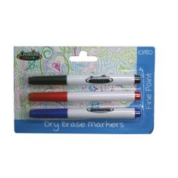 48 Units of Dry Erase Markers 3ct Black, Blue, Red - Markers and Highlighters