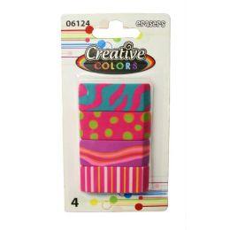 96 Units of 4 Wedge Erasers Designer Prints - Erasers