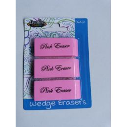 96 Units of 3 Pink Wedge Erasers - Erasers
