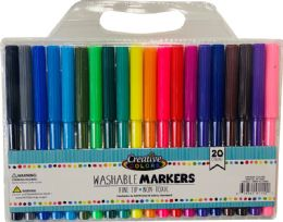 48 Units of 20 Ct Washable Fine Tip Markers In Carrying Case - Markers and Highlighters