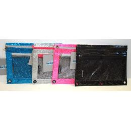 48 Units of DOUBLE ZIPPER PENCIL POUCH WITH MESH QUICK VIEW POCKET Glitter - Pencil Boxes & Pouches
