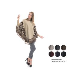 24 Units of Winter Poncho Sweater - Winter Pashminas and Ponchos