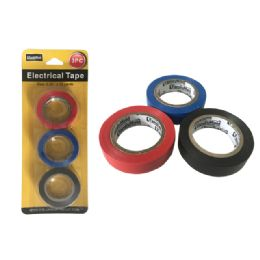 144 Units of 3 Piece Colored Electrical Tape - Tape