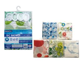 144 Units of Shower Curtain With 12 Shower Hooks - Shower Curtain