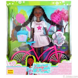 12 Units of ETHNIC 8 PIECE TRENDY'S DOLL WITH BICYCLE PLAYSETS. - Dolls