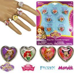 72 Units of Disney 7 Piece Kiddie Ring Sets. - Rings