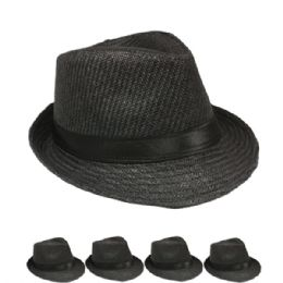 24 Units of Black Straw Trilby Fedora Hat Set with Ribbon Band - Fedoras, Driver Caps & Visor