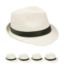 24 Units of Adult Plain Paper Straw White Fedora Hat - Fedora Hat/Driver Cap/ Ivy Cap/Visor