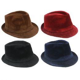 48 Units of Assorted Solid Color Fedora Hat - Fedoras, Driver Caps & Visor