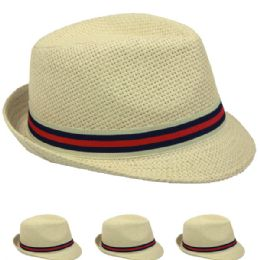 48 Units of Natural Color Fedora Hat With Two Color Band - Fedoras, Driver Caps & Visor