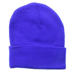 36 Units of Solid Neon Blue Winter Beanie 12 Inch - Winter Beanie Hats