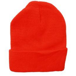 72 Units of Plain Neon Orange Beanie - Winter Beanie Hats