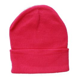 36 Units of Solid Neon Pink Beanie Hat 12 Inch - Winter Beanie Hats