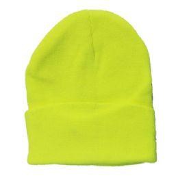 72 Units of Plain Neon Yellow Beanie - Winter Beanie Hats