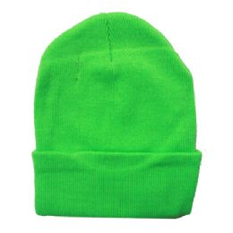 36 Units of Solid Neon Green Beanie Hat 12 Inch - Winter Beanie Hats