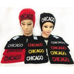 "36 Units of ""chicago"" Winter Knitted Beanie Hat Toboggan Hat - Winter Beanie Hats"