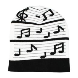 7a9026d0ff5 72 Units of BLACK AND WHITE MUSIC NOTE BEANIES - Winter Beanie Hats ...
