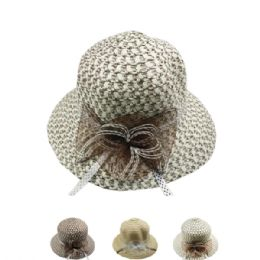 24 Units of WOMANS SUMMER STRAW HAT WITH BOW ASSORTED - Sun Hats