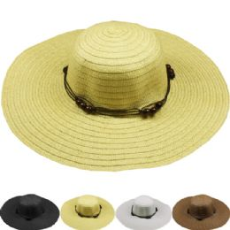 24 Units of Womans Straw Hat Solid Colors - Sun Hats