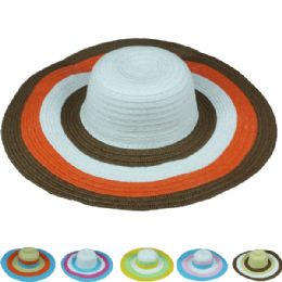 24 Units of Womans Summer Hat With Multi Colored Brim - Sun Hats