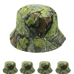 24 Units of Unisex Leaf Print Summer Bucket Hat - Bucket Hats