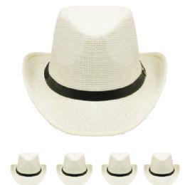24 Units of Western Cowboy Hat In White - Cowboy & Boonie Hat