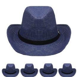 24 Units of Western Cowboy Hat In Blue - Cowboy & Boonie Hat