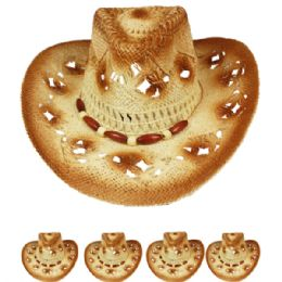 24 Units of Cut Out Open Weave Cowboy Hat - Cowboy & Boonie Hat