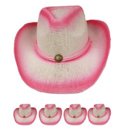 24 Units of Pink Colored Cowboy Hat - Cowboy & Boonie Hat