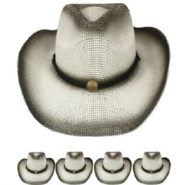24 Units of BLACK FADED COLORED COWBOY HAT - Cowboy & Boonie Hat
