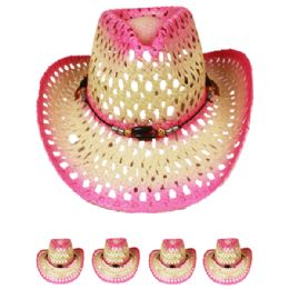 24 Units of Cut Out Open Weave Cowboy Hat In Pink - Cowboy & Boonie Hat