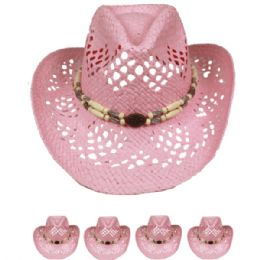 24 Units of Cut Out Open Weave Cowboy Hat In Pink With Medallion - Cowboy & Boonie Hat