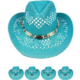 24 Units of Cut Out Open Weave Cowboy Hat In Blue With Medallion - Cowboy & Boonie Hat