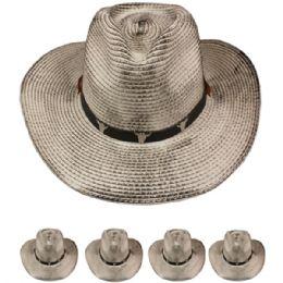 24 Units of Straw Cowboy Hat In Grey - Cowboy & Boonie Hat