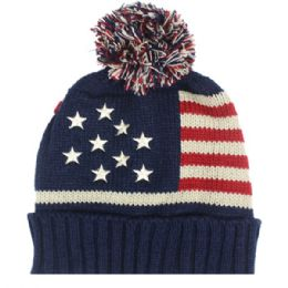 36 Units of Mens Usa Winter Hat With Pom Pom - Fashion Winter Hats