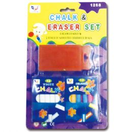 144 Units of Chalk And Eraser Set - Chalk,Chalkboards,Crayons