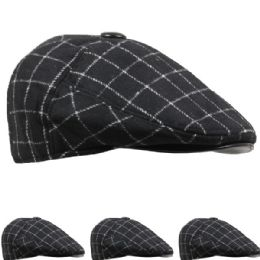 36 Units of Mens Winter Boonie Hat In Plaid Grey - Winter Hats