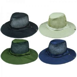 24 Units of Solid Assorted Color Mens Summer Hat With Mesh Top - Sun Hats