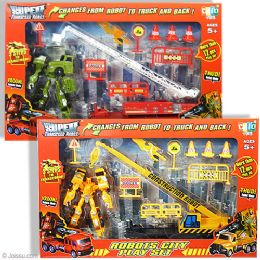 6 Units of 12 Piece Transforming Robot City Play Sets - Action Figures & Robots