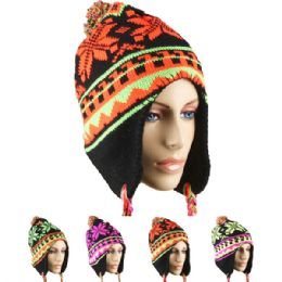 24 Units of Winter Neon Color Hats With Pom Pom Assorted - Winter Hats