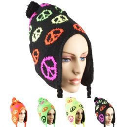 36 Units of Neon Winter Chullo Hat Peace Design Assorted - Winter Hats